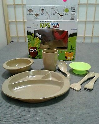 7 pieces Toddler Kids ORGANIC Dinnerware Including Divided Plate Spill Proof Sta