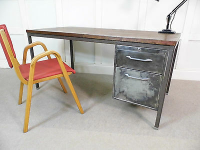 VINTAGE INDUSTRIAL CHIC ROUGH LUX Steel ex Factory large DESK 50s  60s patina