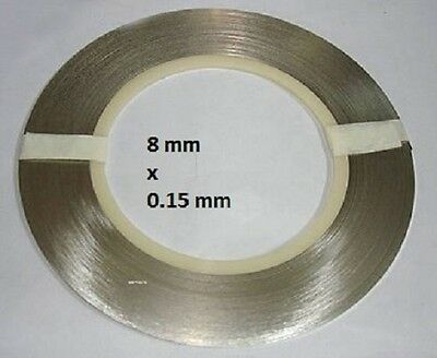 Pur Nickel à 99,96% , bande a souder 8mm x 0.15mm au metre. Pure nickel strip
