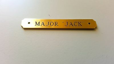 "SADDLE PLATE NOTCHED 2.5""x 3/8"" BRASS CUSTOM ENGRAVED HALTER BROW NAME PET TAG"