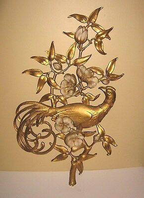 Vintage Mid Century 1964 Syroco Gold Peacock With Dogwood Wall Plaque #4971