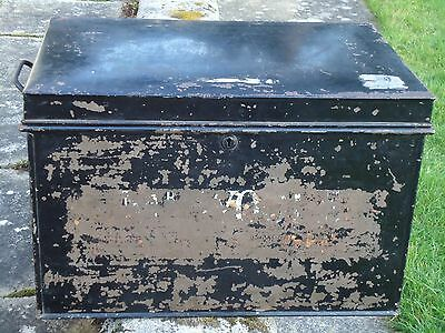 Antique Black Metal Deed Box Storage Chest