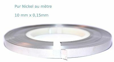 Pur Nickel, bande a souder 10mm x 0.15mm au metre. pure nickel strip 18650 weld