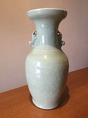 Antique Large Chinese Celadon Porcelain Baluster Vase
