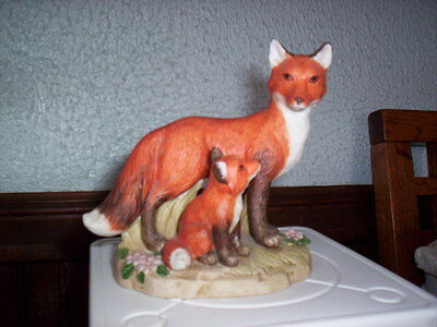 Retired Homco  Red Fox Mother & Baby Fox Figurine