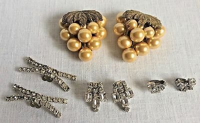 4 Pairs Vintage Shoe Buckles Clips Rhinestone Grapes