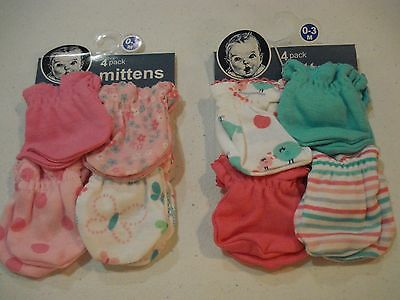 Gerber Baby Girls Mittens NEW 8 Pack Size 0-3 Months Butterfly Birds Flowers