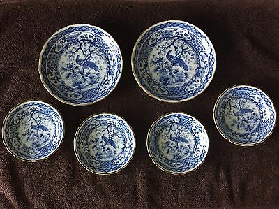 Beautiful Blue and White Japanese Porcelain Peacock 6 Piece Sushi Set