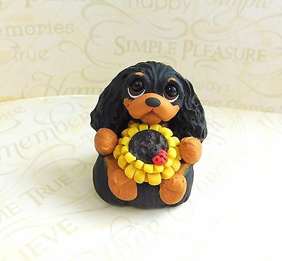 Cavalier King Charles Spaniel with Sunflower Sculpture Clay by Raquel at theWRC