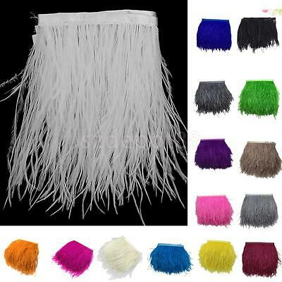 """4-6""""/10-15cm Ostrich Feathers Trims Fringe Ribbon for Sewing Crafts 1 Yard"""