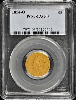 1854-O $3 Three Dollar Gold PCGS AG3 Lowest Graded Mintage 24,000