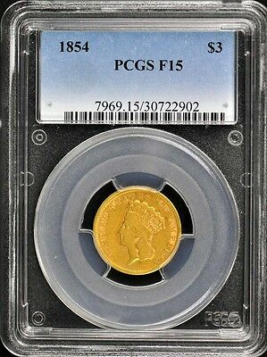 1854 $3 Three Dollar Gold PCGS F15