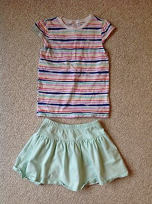 GYMBOREE Girls 6 7 Striped Mint 2PC Outfit Set skirt Spring Summer