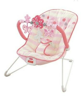 Fisher Price Pink Comfy Time Baby Bouncer Boxed
