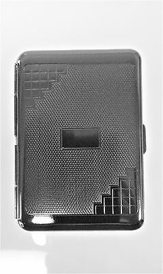 Retro 1951 Double Sided Old World Design Gun Metal Color Business Card Case