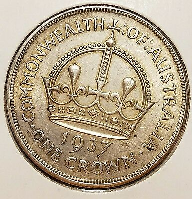 1937 Australia One Crown / Very Nice Coin / Clean Fields / Great Detail