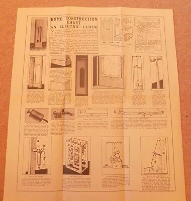 Newnes Home Mechanic 1930s Vintage Original Electric Clock Chart Plans DIY