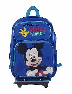 """New Arrival Disney Mickey Mouse 16"""" School Rolling Backpack - Blue"""