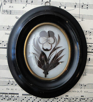 Antique French Mourning Hair Art Domed Glass Wooden Frame Pansy Flower c.1880