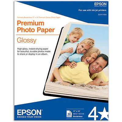 "Epson Genuine Premium Photo Paper Glossy 11 x 14"", 20 Sheets (S041466) NEW"