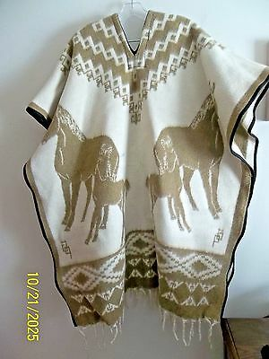 $$ Discounted Men Or Women Wool Poncho 40 X 38 Reverseable Images Of Horses