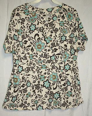 Nick & Sarah Women's Floral Print Short Sleeved Surplice Scrub Top Size 2X