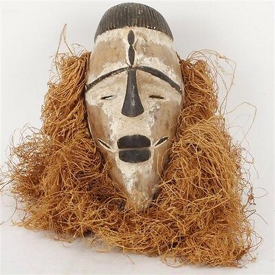African Mask, Fang People, Gabon (wood, paint, raffia), 20th c.