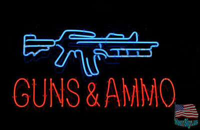 "GUNS AND AMMO Shop Range Man Cave Neon Sign 20""x16"" From USA"