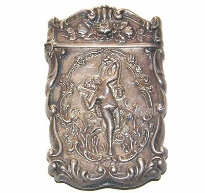 Antique Art Nouveau Sterling Silver NUDE LADY Dancing In Lilies Roses Match Safe