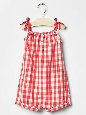 18 24 M BABY GAP Red White Gingham Checked Romper Toddler Girl New NWT
