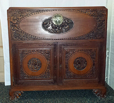 Large, carved vintage Chinese camphor wood chest with drawers from 1930s or 40s