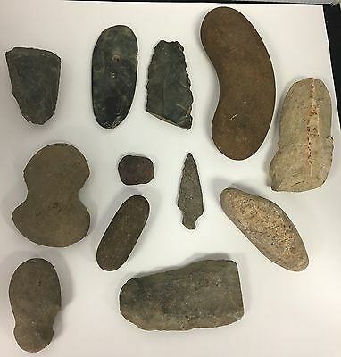 Ancient Stone Tool Lot 12 Pieces Arrowhead Fishing Weight Indian Upstate NY