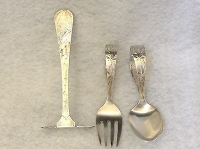 Antique Quality Sterling 950 Bamboo Design Baby Spoon Fork Food Pusher
