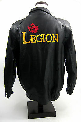 Canadian Legion Bomber Flight Jacket Black Leather Lined Military Club Mens XL