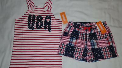 NEW Girls Size 10 Gymboree Outfit July 4 USA Shirt & Patchwork Shorts $49 NWT
