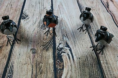 """Lot of 4 6"""" Resin Crow with Hat Figurine"""
