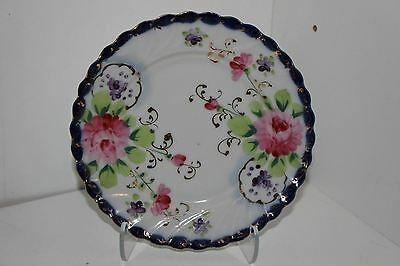 "Antique Nippon Hand Painted 6"" Scalloped Cobalt Porcelain Cabinet Plate"
