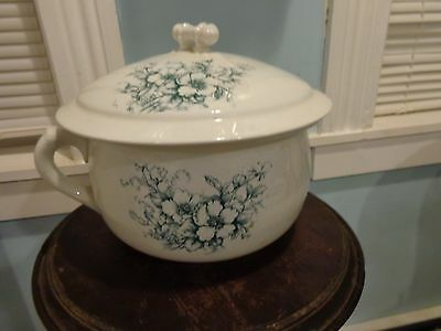 Antique Vintage East Liverpool Potteries Co Chamber Pot With Lid Blue Floral