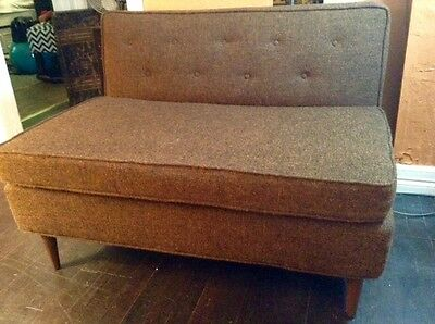 Vintage Mid-Century Modern Loveseat Small Sofa Couch in Brown w/ Tapered Legs
