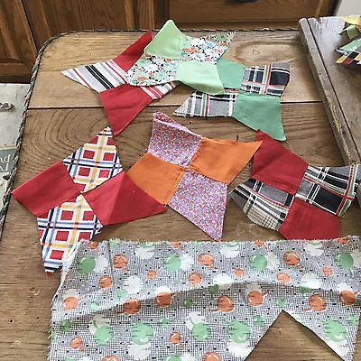 Moprimitivepast Vintage 1930 Feedsack Solid Cotton Fabric Star Quilt Block Lot 1