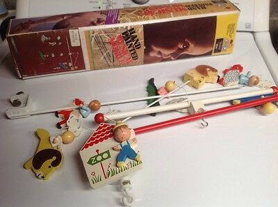 Vintage Irmi Crib Mobile ADORABLE Musical Zoo Hand Painted Wood-70's