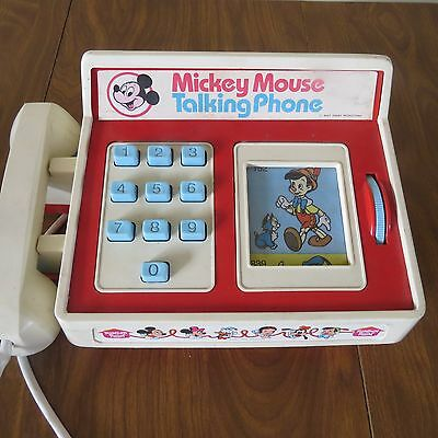 833d9dd212200f WORKING! VINTAGE MICKEY Mouse Talking Phone 1974 Romper Room Hasbro ...