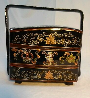 Antique Chinese Lacquer and Porcelain Wedding Dowry Basket