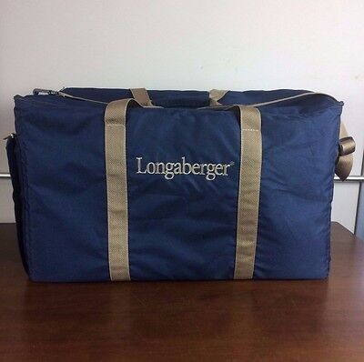 Longaberger Large Blue Tote Suitcase Consultant Materials Adjustable Strap