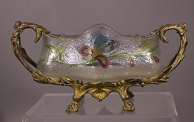 Antique victorian Enameled Iris art glass bowl w/Gilt metal holder