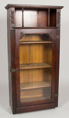 AMERICAN ARTS & CRAFTS CARVED OAK CURIO CABINET/ BOOKCASE Lot 522