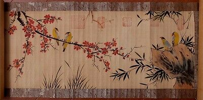 Vintag Very Long Chinese Scroll Hand Painting Flowers Birds Marks LinLiang KK090
