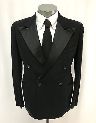 vintage mens black 30s DOUBLE BREASTED 2pc TUXEDO suit formal button fly 38 R
