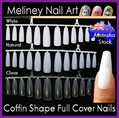 60/120/360pc Coffin Ballerina Shape Full Cover Long Nails False Tips meliney Art