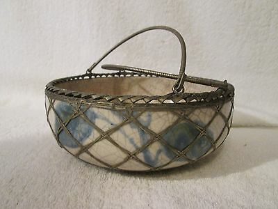 Antique Circa 1880 Japanese Meiji Era Wire Work Overlay Pottery Bowl With Handle